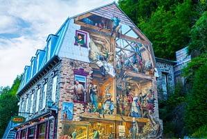 art sur un mur, centre commercial au Canada