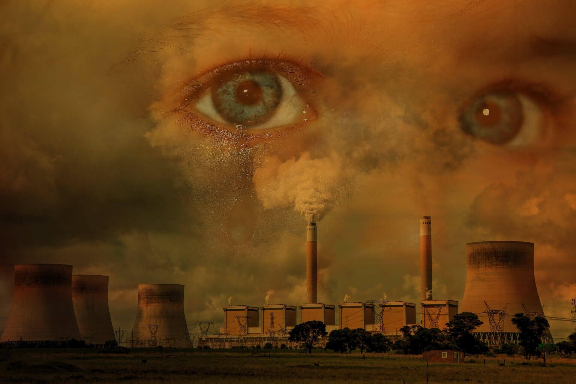 les yeux effrayés par la pollution et le changement climatique
